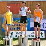 Die Sieger beim 16 Km-Hauptlauf der Männer. Marcus Giese (0:56:29h), Ralf Harzbecker (0:56:32h) und Alexander Thomas (1:00:40h)