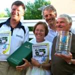 Die Veolia-Firmenmeisterschaft 2010 gewann die Würtenbergische Versicherung in der Besetzung Wilfried Huber (r.) sowie Meggie und Hans- Peter Lahres.